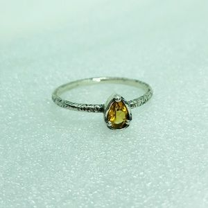 Sterling 925 Citrine Ring 9 Artisan Paz Israel